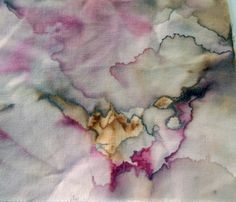 """tea dyeing on fabric with hollyhock and rooibos"""