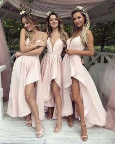 Simple V-Neck Pink High Low Prom Dress,Bridesmaid Dress,Elegant Evening Dress,Evening Gown,Prom Formal Dress Source by Dresses High Low Bridesmaid Dresses, Prom Party Dresses, Wedding Bridesmaids, Wedding Dresses, Long Dresses, Bride Maid Dresses, Evening Dresses, Dress Prom, Dress Long