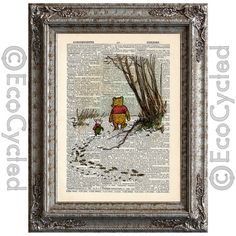 Winnie the Pooh and Piglet in the Snow on Vintage Upcycled Dictionary Page Book Art Print