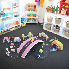 What's better than small world play? Colorful small world play! #waytoplay #waytoplaytoys #waytoplayroads #smallworldplay #invitationtoplay #kidsroom #playroom #woodentoys #toyroads #colorfultoys #playandlearn #openendedplay #simplyplaytime #playroominspo #playroominspiration #toysforgirls #toysforboys #toysforkids Toys For Girls, Kids Toys, Colorful Playroom, Small World Play, Home Upgrades, Kidsroom, Wooden Toys, Pastel, Invitations