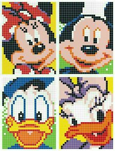mouse crafts Mickey Mouse and Donald Duck Pixel Disney Graph Crochet, Pixel Crochet, Disney Cross Stitch Patterns, Cross Stitch Designs, Disney Cross Stitches, Beaded Cross Stitch, Cross Stitch Embroidery, Mickey Mouse Quilt, Disney Stich