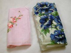Vintage Handkerchiefs, Vintage Hankie, Set of Flowered Hankies, Ladies Handkerchiefs,  2 Ladies Handkerchiefs by VintagePlusCrafts on Etsy