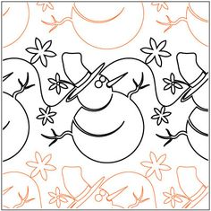 Snowmen & Snowflakes quilting pantograph pattern by Patricia Ritter of Urban Elementz