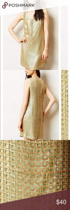 Anthropologie Gold Panes Shift Dress NWT by Tabitha. True to size. Anthropologie Dresses