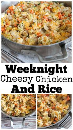 Cheesy Chicken & Rice is the perfect weeknight dinner recipe! It's a creamy, flavorful rice dish packed with chicken, vegetables & just the right seasonings Quick Easy Meals, Easy Dinner Recipes, Dinner Ideas, Easy Dinners, Meal Ideas, Easy Recipes, Casserole Recipes, Rice Casserole, Skillet Recipes