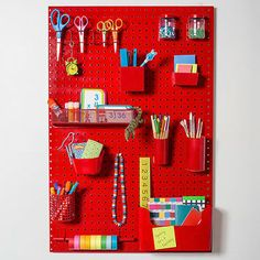 For a simple, inspiring homework center, pick up a pegboard (available at hardware stores), and, if needed, have it cut to fit on a door or above a desk. Stock the board with cool school and craft supplies, and your student will be set to ace everything from division to diorama building.                 Originally published in the September 2013 issue of FamilyFun magazine.