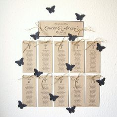 Reserved For Hannah Table Plan With Jute And Navy Butterflies