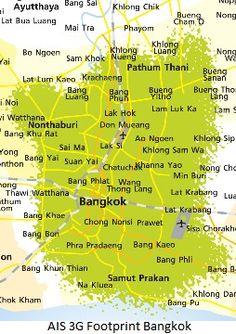 1 2 Call Network Coverage In Bangkok Bangkok, Sims, Thailand, Map, Cards, Playing Cards, Maps