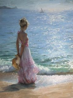 The Paintings of Vicente Romero Redondo – Lovely Women in Hot Weather | boy with a hat