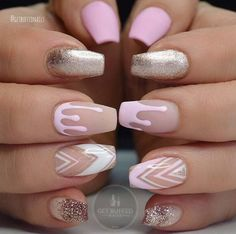 love the dripping nails and geometric nails. Such a pretty manicure. Coffin nails, ballerina nails, whatever you call them - they look great!
