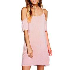 Round Neck Short Sleeve Shift Tee Dress
