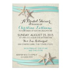 starfish and aqua ribbon beach theme bridal shower invitation select a size and paper type