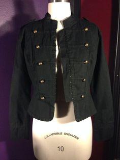 Xhilaration Black Military Jacket Gothic Punk Steampunk Industrial Target Large