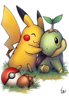 Pikachu_Turtwig by *UdonNodu