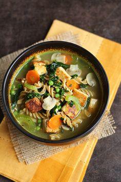 Tofu Noodle Soup - Classic vegan comfort food is the best! ilovevegan.com