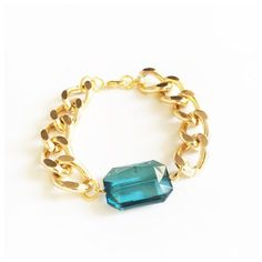 Blue Facet Jewel Chunky Chain Bracelet - Silver or Gold  This bracelet features a light blue jewel bead which hangs on chunky aluminium chain.  With a choice of either silver or gold, this gorgeous piece of arm candy can be worn alone or together with other bracelets for a stacked layered look.  Bracelets are available in; 6, 7 or 8 inches in length with a 5 cm chain extender to ensure the perfect fit.  This bracelet is also available in other colors, click below: https://www.e