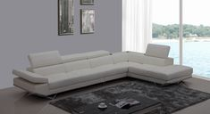 Divani Casa K8489 Modern White Leather Sectional Sofa w/ Audio System