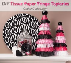For Valentine's Day: Tissue Paper Fringe Topiaries -- easy DIY and and love the touch of black! CraftsnCoffee.com.