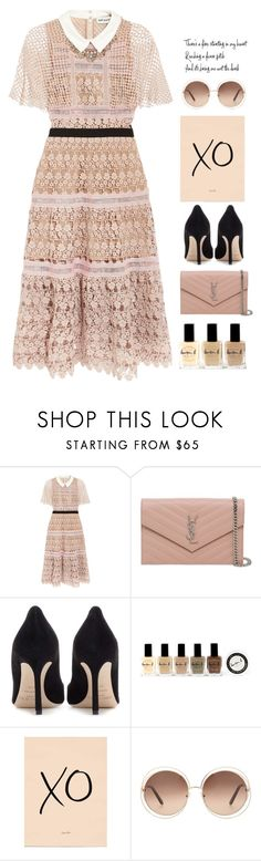 """*1762"" by cutekawaiiandgoodlooking ❤ liked on Polyvore featuring self-portrait, Yves Saint Laurent, Jimmy Choo, Lauren B. Beauty, Chloé, Mignonne Gavigan, eyelet and dreamydresses"