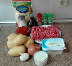 Ingredientes para 6 personas: 6 patatas 1 kilo de carne picada (yo la he puesto de ... Easy Cooking, Menu, Potatoes, Cheese, Chicken, Vegetables, Food, Recipes, Templates