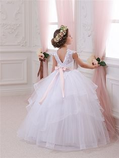 Vestido de niña flor marfil Dama de honor por Butterflydressua