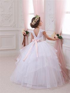 Elfenbein-Blumen-Mädchen-Kleid Brautjungfer von Butterflydressua