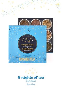 Celebrate the festival of lights in a fun new way with this elegant collection of eight kosher teas. It contains eight numbered tins of loose leaf tea, so you can open up a tasty new treat each day.