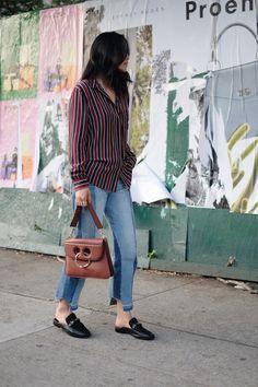 GANNI Top (More here) / FRAME DENIM Jeans/J.W. ANDERSON Bag…