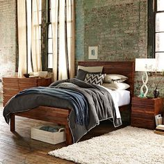 Stria Bed Set #WestElm - $799    My favorite style of bed with a beautifully gorgeous rustic feel to it! I love that they use reclaimed wood! This would make me feel special knowing each bed is unique & make me feel like I live in another era.    http://www.westelm.com/products/stria-bed-set-g287/?pkey=csustainable-furniture