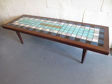 mid century modern coffee table mosaic tile top cocktail bench eames knoll era