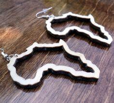 Natural wooden earrings laser cut Africa outline African map plain birch