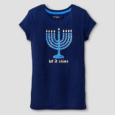 Girls' Let It Shine Hanukkah Graphic T-Shirt Cat & Jack™ - Nightfall Blue : Target