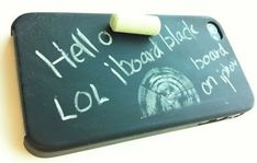 Super Cool Blackboard Case  The back of this case is made from actual school blackboard material which means you can write or scribble all over it, but keep in mind with all this scribbling, there's going to be dust and white powder everywhere.