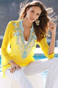 Bright embellished tunic
