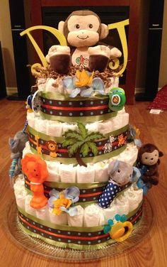 Diaper Cake Jungle Theme Regalo Baby Shower, Baby Shower Diapers, Baby Boy Shower, Baby Shower Gifts, Jungle Diaper Cakes, Monkey Diaper Cakes, Diaper Cake Basket, Diaper Cake Boy, Baby Shower Desserts
