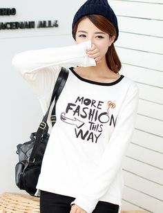 Korean Letter Printed Long Sleeve Basic Tee For Women | Item Code 726567 at M.EastClothes.com