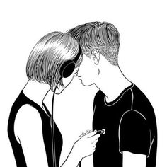 #sketch #boy #girl #heart #headphones #love #blackandwhite #скетч