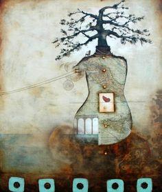 Nava Waxman: Volare 2011 - Mixed media, encaustic on wood panel