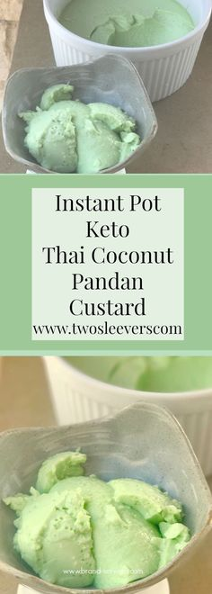 Instant Pot Keto Thai Pandan Coconut Custard. Easy, delicious thai dessert that is keto-friendly, kid-friendly, gluten-free, paleo, and low carb.