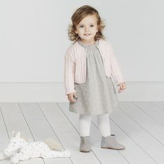 Alice Floral Hand-Smocked Dress - Grey AW 2015 http://www.parentideal.co.uk/the-white-company---baby-girls-clothing.html