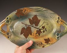 Serving Dish unique oval in Green Leaf Pattern with Nature Theme Grapevine impression, wedding gift anniversary gift