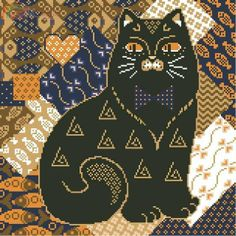 cat chart for needlepoint, unknown source