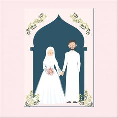 Discover thousands of Premium vectors available in AI and EPS formats Wedding Art, Wedding Couples, Wedding Cakes, Wedding Ideas, Wedding Invitation Card Template, Floral Wedding Invitations, Invitation Cards, Bride And Groom Cartoon, Mekka