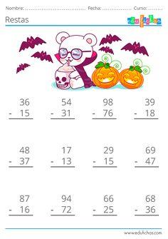 Math Practice Worksheets, First Grade Math Worksheets, Kindergarten Math Games, 1st Grade Math, Teaching Math, Preschool Activities, Math For Kids, Fun Math, Halloween Math