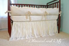 Lace Baby Crib Bedding Ivory Cotton and by WHIMSICALandWITTY