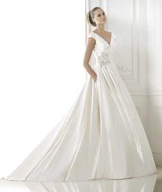 Wishesbridal Romance #VNeck Chapel Train Satin A Line #WeddingDress Apr0114