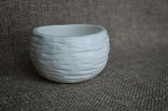 Textured White Pinch Pot by clayandpaper on Etsy