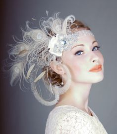 Ivory Peacock Feather Flapper Headband.