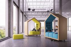 More flexible study/private spaces! These ones are shaped like houses, and on wheels!