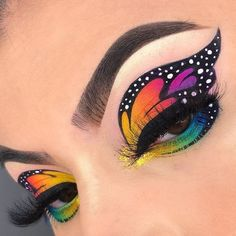 Crazy Eye Makeup, Dope Makeup, Edgy Makeup, Makeup Eye Looks, Creative Makeup Looks, Eye Makeup Art, Colorful Eye Makeup, Butterfly Makeup, Eye Makeup Designs